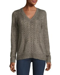 Michael Michael Kors Cable Front V Neck Sweater Brown Pattern