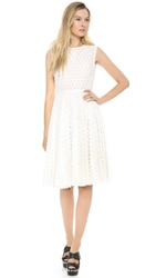 Giambattista Valli Flocked Sleeveless Dress White