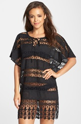 Amita Naithani Crochet Cover Up Poncho Black