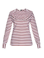 Marni Breton Striped Ruffled Top
