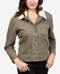 Lucky Brand Faux Sherpa Collar Jacket Dark Olive