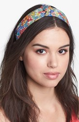 L. Erickson 'Narrow Knot' Turban Headband Orange Orange Blue