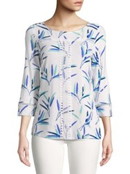 Imnyc Isaac Mizrahi Three Quarter Sleeve Printed Jersey Lace Trim Tee White Leaf