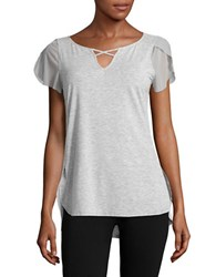 Nanette Lepore Cutout Flutter Sleeve Performance Top Grey Heather