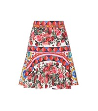 Dolce And Gabbana Printed Stretch Silk Skirt Multicoloured