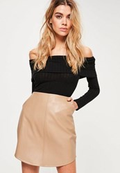 Missguided Nude Curve Hem Zip Back Faux Leather Skirt Tan