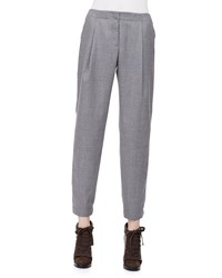 Akris Punto Smocked Cuff Pleated Ankle Pants Size 8 Silver