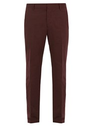 Prada Slim Leg Cotton Blend Chino Trousers Burgundy