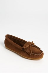 Women's Minnetonka 'Kilty' Suede Moccasin Dusty Brown