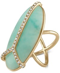 Rachel Roy Gold Tone Pave And Blue Stone Peace Sign Ring