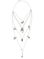 Valentino Garavani Tiered Chain Multi Charm Necklace Metallic