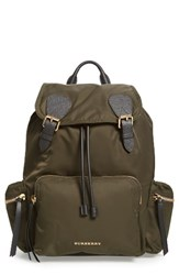 Burberry Prorsum Nylon Backpack Green Canvas Green