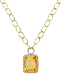 Macy's 14K Gold Necklace Citrine 22 Ct. T.W. And Diamond 5 8 Ct. T.W. Rectangle Pendant