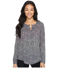 Lucky Brand Floral Peasant Top Multi Women's Long Sleeve Pullover