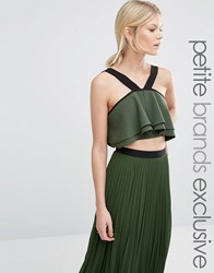 True Decadence Petite Strappy Fluted Crop Top Khaki Green