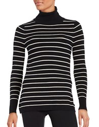 French Connection Striped Turtleneck Pullover Black Cream