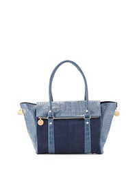 Neiman Marcus Faux Suede And Croc Embossed Wing Tote Navy