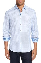 Stone Rose Men's Trim Fit Embroidered Geo Print Sport Shirt