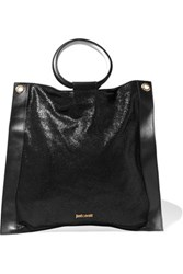 Just Cavalli Metallic Leather Trimmed Cracked Suede Tote Black