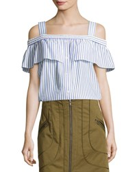 Veronica Beard Lacey Striped Cold Shoulder Top Blue White Blue White