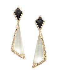 Alexis Bittar Lucite Black Quartz And Swarovski Crystal Drop Earrings Ivory