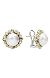 Lagos Women's Luna Diamond And Pearl Earrings Silver