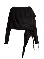 Vivienne Westwood Draped Side Checked Cotton Top Black