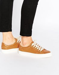 Pull And Bear Pullandbear Leather Look Trainer Brown