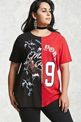 Forever 21 Plus Size Split Graphic Tee Black Red