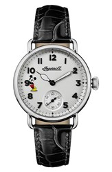 Ingersoll Watches 'S Trenton Disney Leather Strap Watch 31Mm Black White Silver