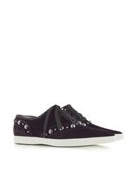 Marc Jacobs Purple Pointed Toe Lace Up Velvet Sneaker Burgundy