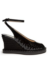 Bottega Veneta Intrecciato Patent Leather Espadrille Wedge Pumps Black
