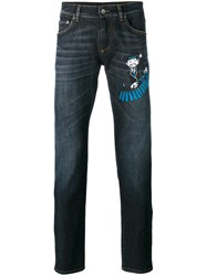 Dolce And Gabbana Xylophonist Patch Slim Jeans Blue