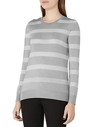 Reiss Githa Metallic Stripe Sweater Silver