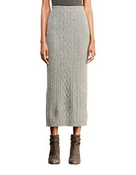 Lauren Ralph Lauren Petite Cable Knit Wool Skirt Concrete