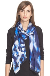Jimmy Choo Print Silk Scarf Blue
