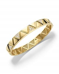 Marina B 18K Gold Single Row Diamond Triangoli Bangle Bracelet