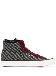 Lanvin Logo Print High Top Sneakers Black