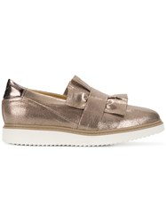 Geox Frilled Design Flat Loafers Nude And Neutrals