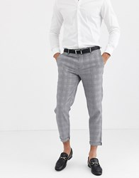 Only And Sons Slim Fit Cropped Check Trousers In Grey