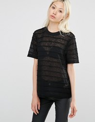Y.A.S Striped Burnout T Shirt Black