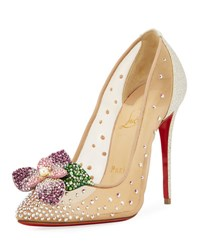 Christian Louboutin Feerica Crystal Embellished Red Sole Pump White