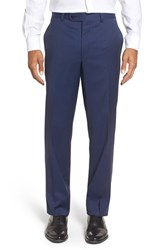 Riviera Men's Flat Front Solid Wool Trousers
