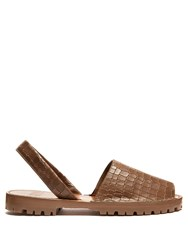 Goya Crocodile Effect Leather Slingback Sandals Dark Brown
