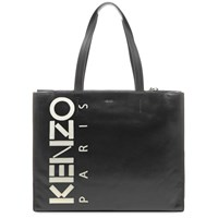 Kenzo Leather Logo Shopper Black