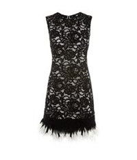 Dkny Feather Trimmed Lace Dress Black