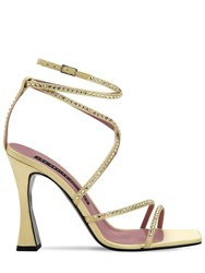 Les Petits Joueurs 100Mm Camelia Satin Sandals W Crystals Yellow