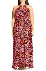 City Chic Plus Size Women's Leopard Drawstring Waist Maxi Dress