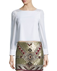 Alice Olivia Bey Long Sleeve Lace Trim Blouse Cream