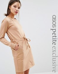 Asos Petite Sweat Dress With Drawstring Waist Camel Brown